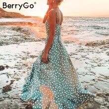 BerryGo Maxi kadın yaz elbiseler boho seksi v yaka spagetti kemerli elbise zarif düğme nokta baskı uzun elbise plaj vestidos 2019