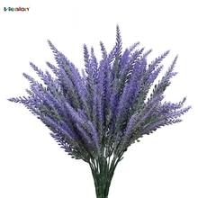 25 Kepala / Bouquet Romantis Provence Bunga Buatan Ungu Lavender Bouquet dengan Daun Hijau untuk Dekorasi Pesta Rumah