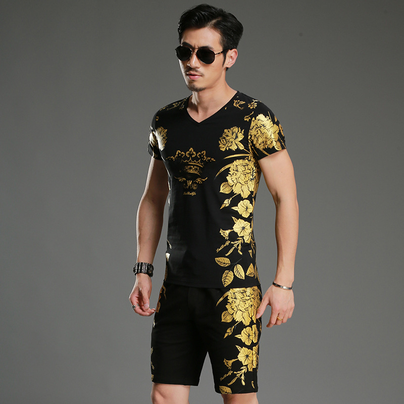 3d Printing Pattern Men Set Summer T-shirt Shorts Casual Mens Suits Foil Gold Flower Bodybuilder Tracksuit Sets Men Sweatsuit