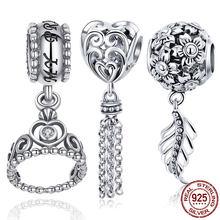 0de4db3b858f 925 plata esterlina princesa corona encantos dijes de corazón amor pluma  claro CZ colgante de cuentas pulsera de plata 925 de jo.
