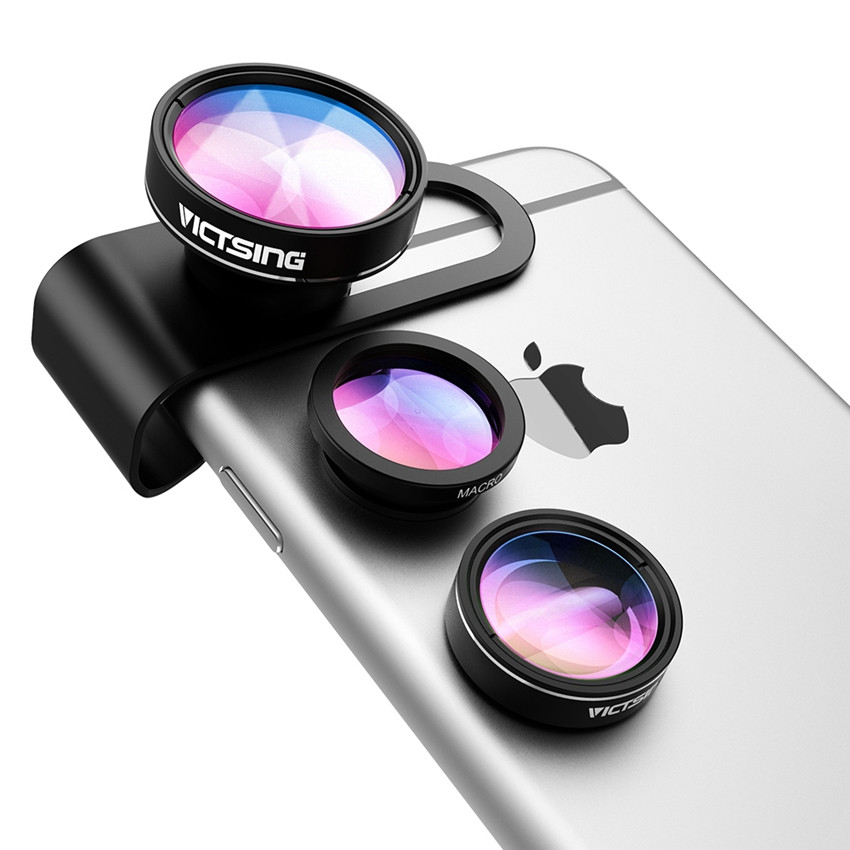 VicTsing 3 In 1 Universal Clip 180 Degree Camera Phone Lens Fisheye Lens+ 10X Macro+ 0.65X Wide Angle Lens Kit for Smartphones 7