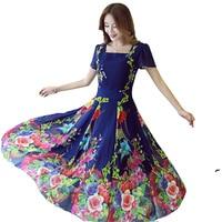 2017 Spring Summer New Women Plus Size 4XL Short Sleeved Chiffon Print Dress Female Bohemia Floral