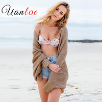 UANLOE 배트 윙 니트 어깨를 으쓱 스웨터 여성