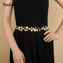 YouLaPan SH110 Fast delivery Wedding belt accessories gold leaves and alloy flower Thin bridal belts sashes  for the bride