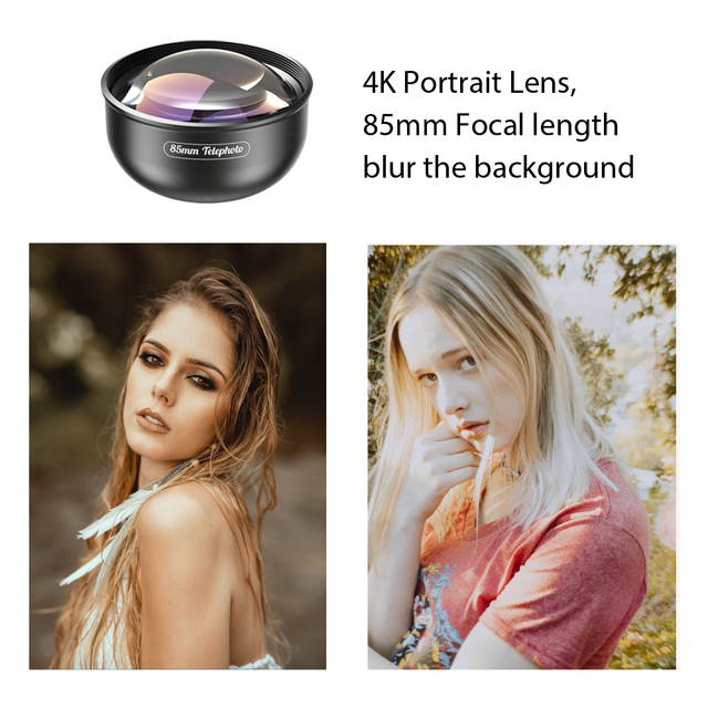 APEXEL Optic Pro Lens, 85mm 3X HD Telephoto Lens professional portrait  Lens, No Dark Circle for Samsung huawei Xiaomi cellphone 1