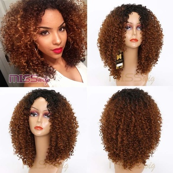 MISS WIG Long Red Black Afro Wig Kinky Curly Wigs for Black Women Blonde  Mixed Brown a454484ea9