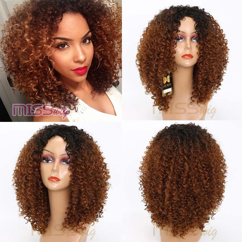 MISS WIG Long Red Black Afro Wig Kinky Curly Wigs for Black Women Blonde Mixed Brown 250g Synthetic Wigs