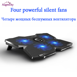 """Image 3 - Jogo profissional computador portátil cooler almofada de refrigeração com led 4 fãs usb 2.0 notebook suporte para macbook/dell/asus14 """"15.6"""" 17 polegada"""