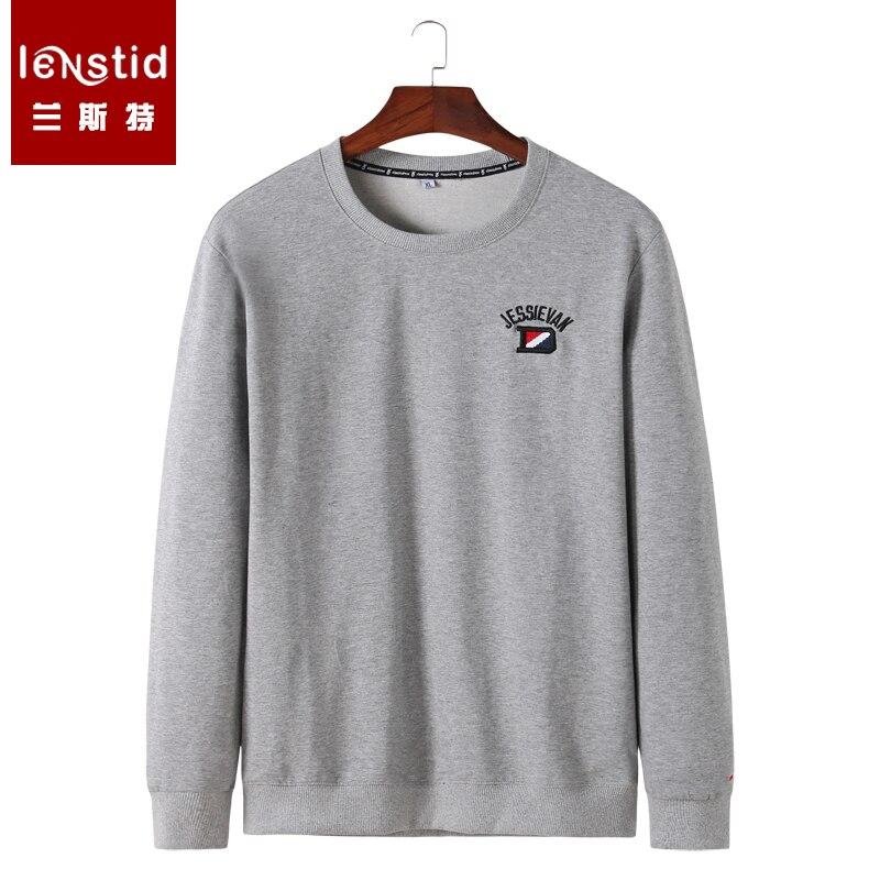 LENSTID 2019 Spring New Streetwear Hoodies Fashion Casual Sprotwear Sweatshirts Men LOGO Embroidery O-neck Pullover 6XL 7XL 8XL