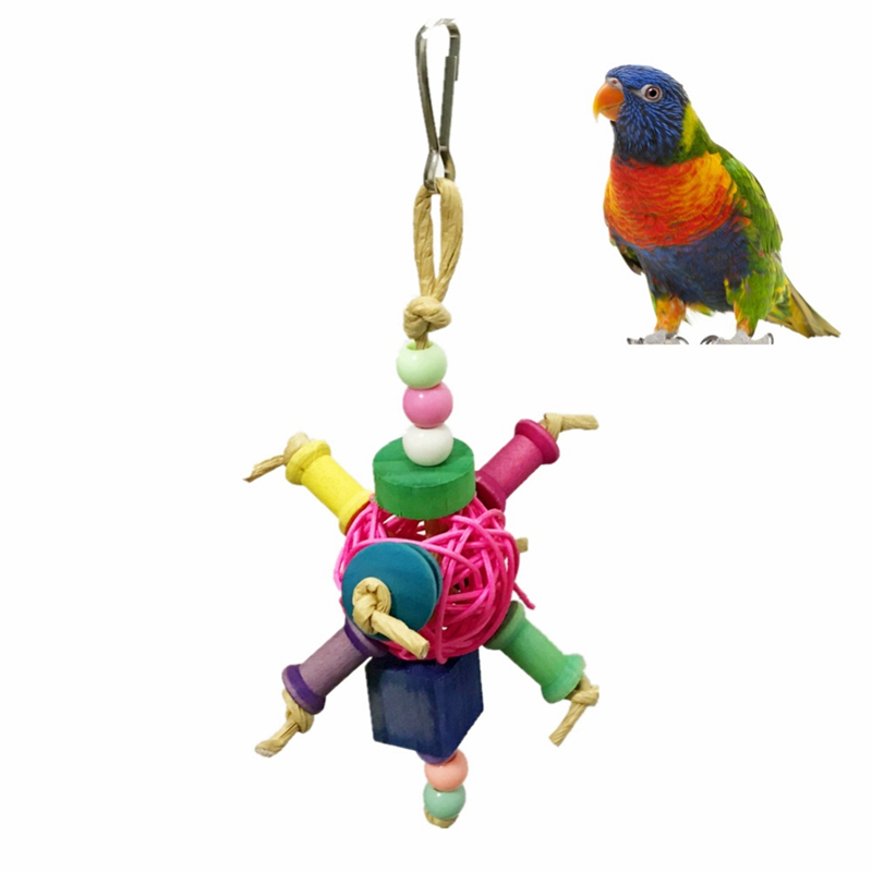 Birds Cage Colorful String Hanging Bird Toy Plastic Ball Toy With Bells For Parrot