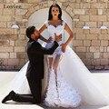 Vestido De Noiva Sexy Cap Manga Sereia Vestido de Noiva de Renda 2017 Destacável Saia Apliques Arábia Árabe Vestido de Noiva