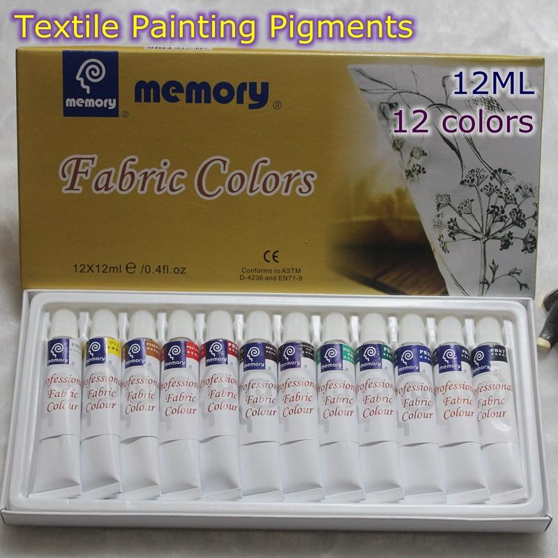 Professional Fabric Colours Paint Non Toxic12 Colors 12ml  Color Set Textile  Colors Pigments