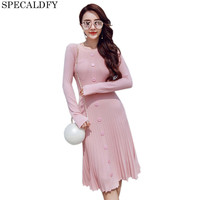 2018 High Quality Autumn Winter Sweater Dress Women Long Sleeve Singles Breated Slim Pleated Dresses Party
