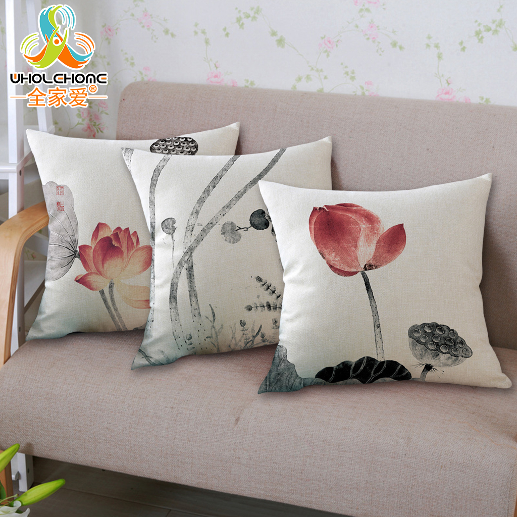 Lotus Leaf Flowers Pattern Cushion Cover Soft Cotton Linen Throw Pillow Case Home Sofa Chair Decorative 18Pillow Cushion Cover