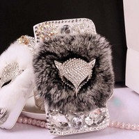 Rabbit Fur Fox Bling For IPhone 4s 5s 5c 6 6plus For Samsung Galaxy S3 S4