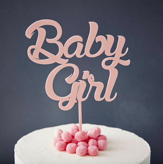 Acrylic Rose Gold Baby Girl Cake Topper Girl Baby Birthday Cake