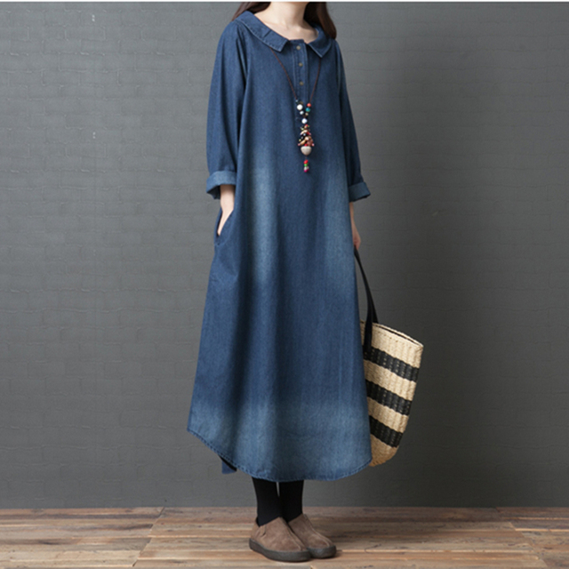 Johnature Spring New Denim Long Dress 2019 Loose Turn-down collar Long Sleeve Cotton Blue Dress