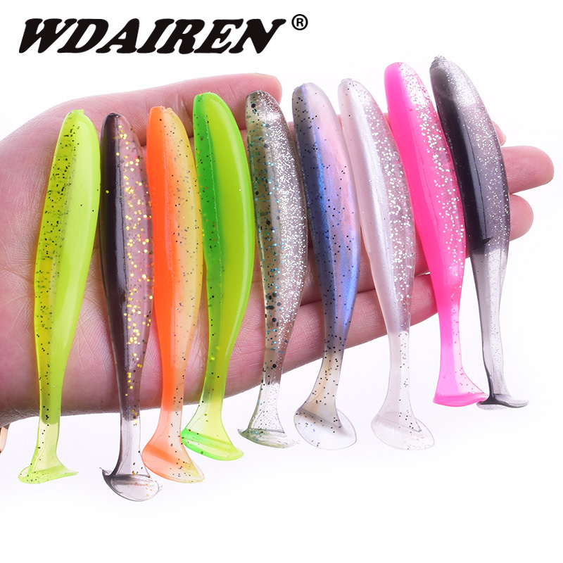 WADIREN Easy Shiner Fishing Lures 50mm 75mm 95mm Jigging Wobblers Carp Fishing Soft Lure Silicone Artificial Double Color Baits