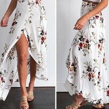 JIMMYHANK  2017 Summer Women High Waist Lace Up Spilt Irregular Floral Printed Chiffon Bohemian Maxi Skirt