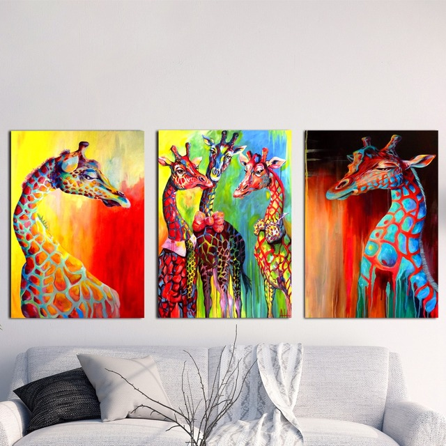 Aliexpress Com Buy Watercolor Colorful Giraffe Canvas Art Print