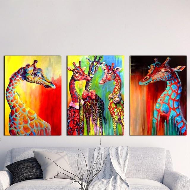 Aliexpress Com Buy Watercolor Colorful Giraffe Canvas Art Print