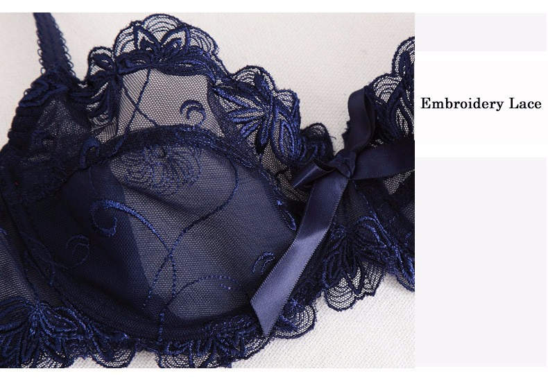 Shitagi France Women Sexy Ultra-thin Underwear Set Transparent Lace Bra & Brief Set Sweet Tow Bow Intimates For Girl Embroidery 18
