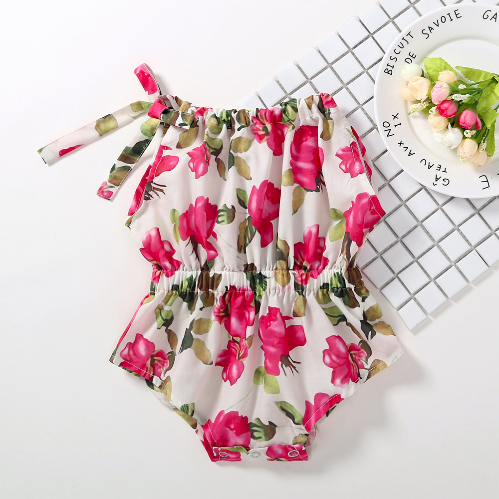 Baby Girl Clothes 2018 Little Girls Printed Floral Rompers Todder Princess Jumpsuits Babies Cotton Bow Rompers Baby Clothes