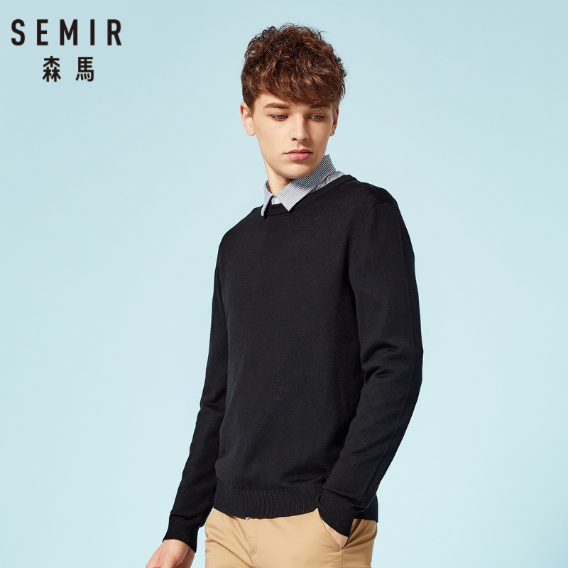 SEMIR Men 100% Wool Fine-Knit Sweater In Soft Touch Men's Pullover Sweater With Ribbed Crewneck Cuff And Hem For Spring Autumn
