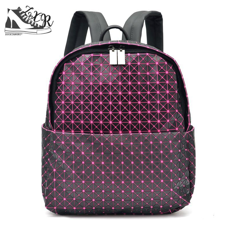 Women Backpack Geometric Plaid Sequin Female Scool Backpacks For Teenage Girls Pu Leather Bagpack Holographic Women Backpack women backpack mochila geometric plaid sequin female backpacks for teenage girls bagpack drawstring bag holographic bag pack