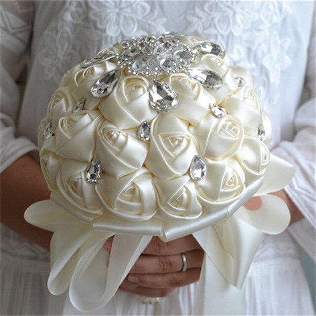 Rhinestones Ribbon flower Bride Hand held Flowers Bridal Bouquets ...