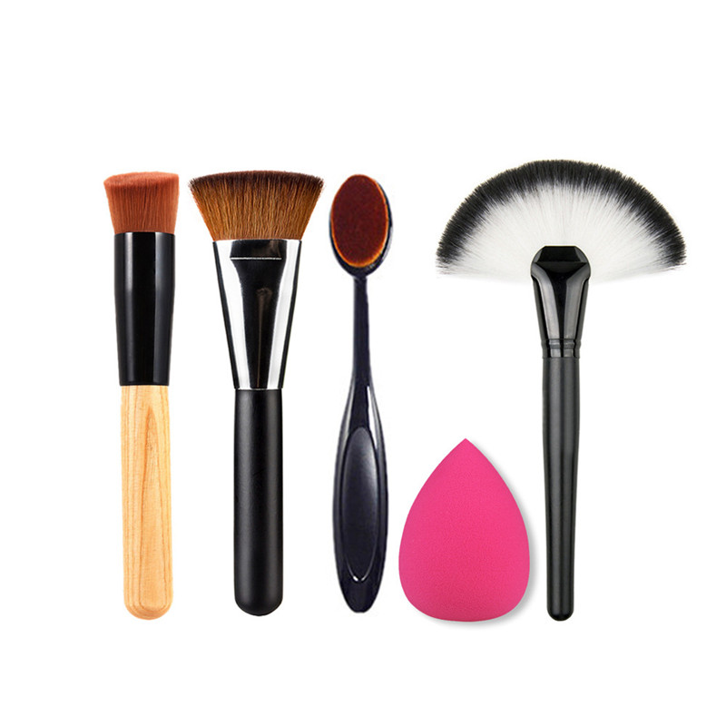 Flazea 5 PCS Makeup Powder Blush Foundation Brush+Sponge Puff+Large Fan Contour Brush Make Up Brushes Tool Cosmetics Set Kits
