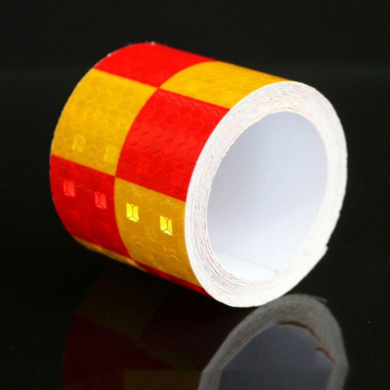 Двойной Цвет красный желтый шахматная доска решетки Светоотражающие Клейкие ленты автомо ...