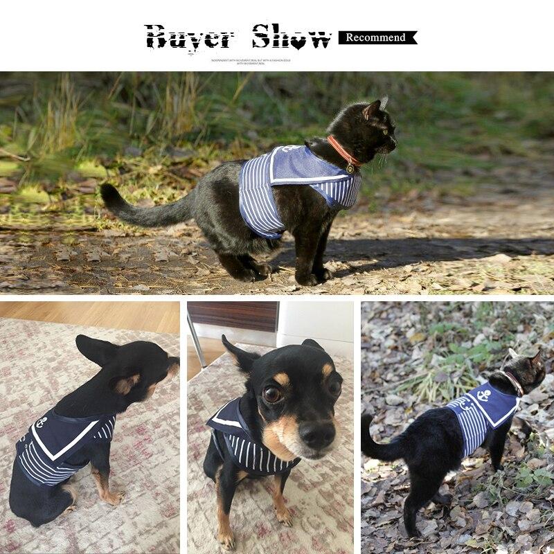 Retro Style Pet Hunde Harness Kat Krave Tøj Navy Dog Vest Harness - Pet produkter - Foto 6