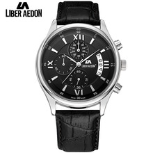 Liber Aedon Top Brand Luxury Mens Watch Leather Strap Bussiness Casual Sports Male Quartz Waterproof Wristwatches Montres Hommes