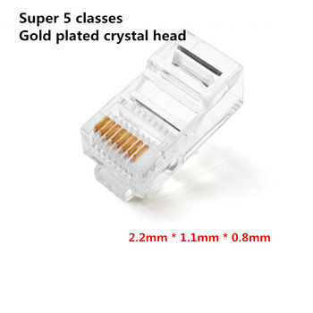 100PCS Crystal 8Pin RJ45 Modular Plug Rj-45 Network Cable Connector Adapter for Cat5 Cat5e Cat6 Rj 45 Ethernet Cable Plugs Heads