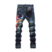2016 Spring New Star same brand Male Club Night Denim Pants Men's Slim straight pants personalized Phoenix embroidery Jeans