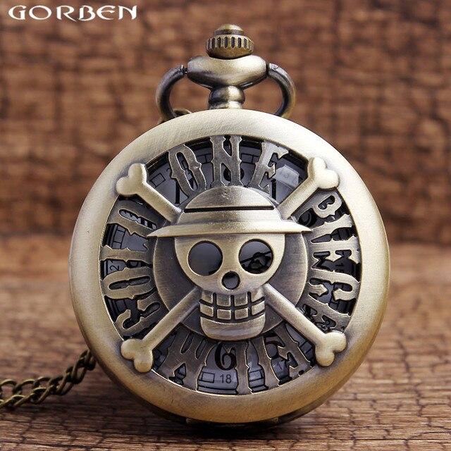 Famous One Piece Comics Hollow Pocket Watch Men Skull Head Antique Quartz Pocket