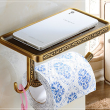 Free Shipping Wholesale And Retail Vintage Euro Antique Brass Bathroom Toilet Paper Holder Artistic Roll Tissue Rack