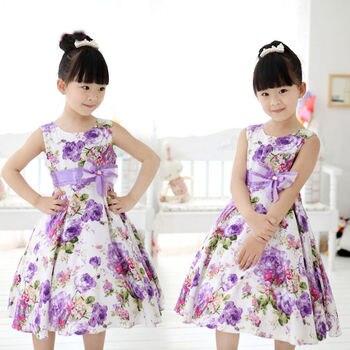 ¡NOVEDAD DE 2017! Vestido Floral sin mangas para niñas y niños, vestido Boda de Princesa de fiesta con lazo y flores, vestidos de fantasía de 2 a 11 años