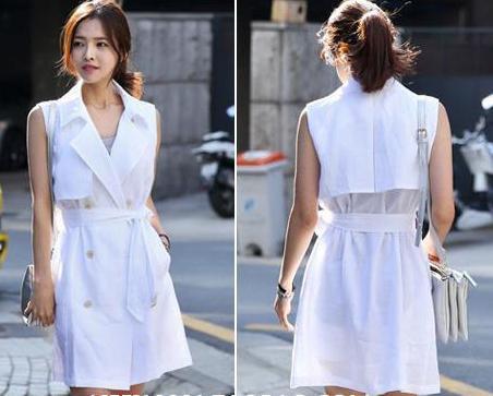 Весенне-осенний Модный жилет без рукавов с отворотом длинный двубортный белый женский плащ - Цвет: Белый