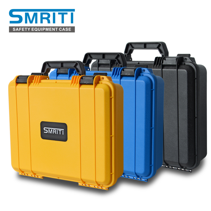 Plastic portable toolbox Safety Instrument Tool Box ABS Plastic storage Toolbox Sealed Tool case box With Foam Inside 3 color