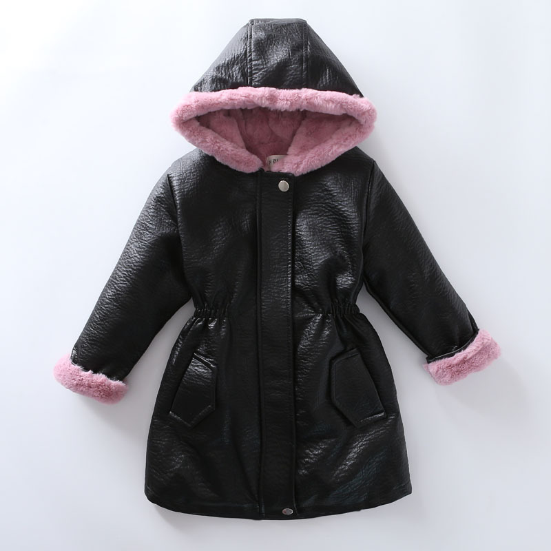 Girls Parkas Jacket 2018 New Winter Leather Jacket Girls PU Jacket Children Leather Outwear For Girls Thick Warm Padded Coat pu leather and corduroy spliced zip up down jacket