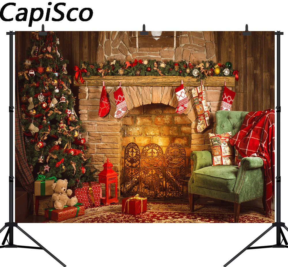 Capisco Indoor Fireplace Merry Christmas Photo Background Printed Xmas Tree Toy Bear Gifts Chair New Year Photography Backdrops