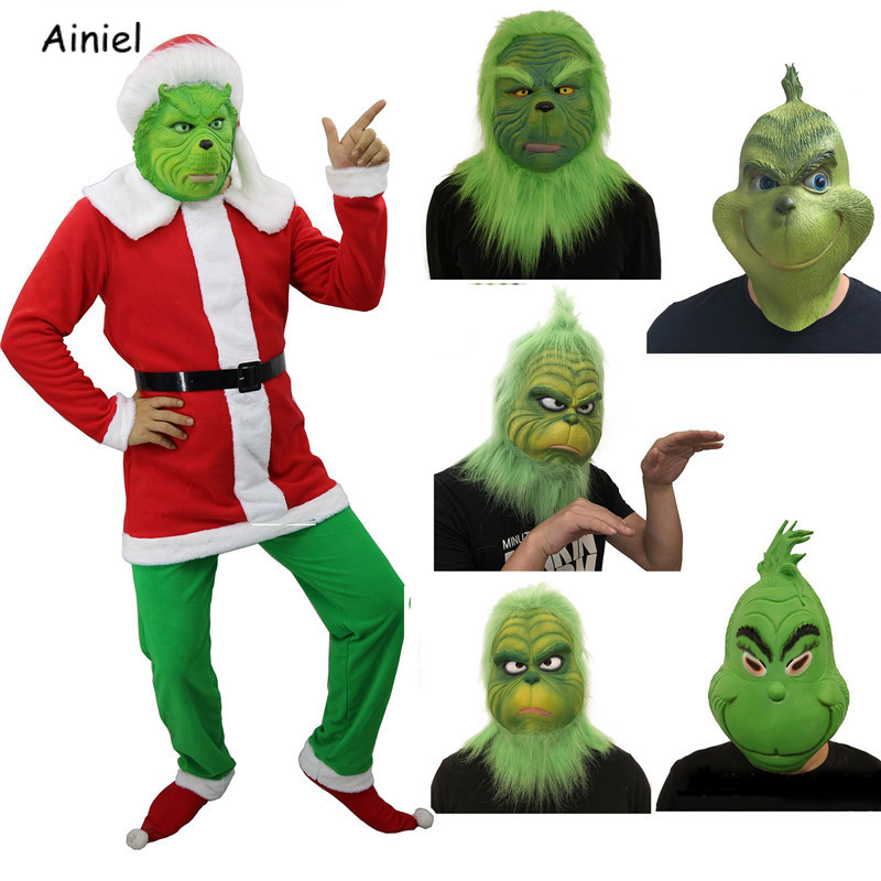 2018 The Grinch Kid/'s Jumpsuit Mask Costume Cosplay Halloween Suit Christmas New