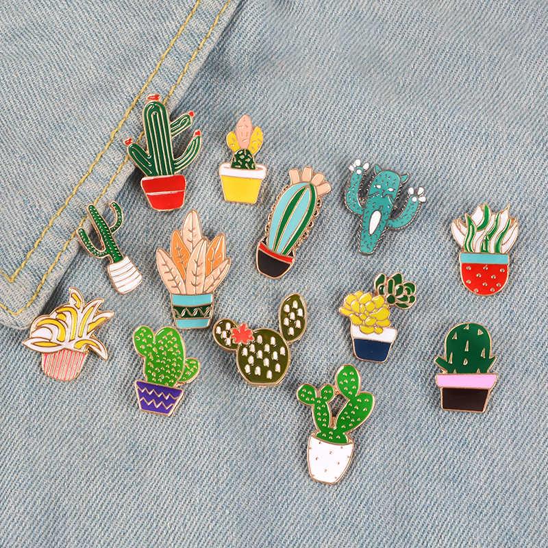 Модные мультфильм Кактус Броши милые мини цветок горшок эмаль для мужчин женщин джинсовые куртки шляпа значки детские украшения интимны