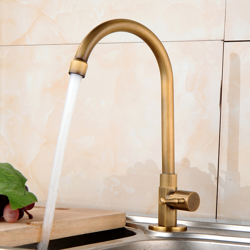 Single cold Kitchen Taps Antique Brass Bathroom Basin Mixer 360 Degree Rotating Kitchen Sink Faucet Faucet