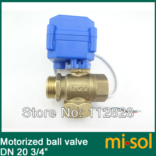 10 pcs/lot 3 way motorized ball valve DN20 (reduce port), T port, electric valve,