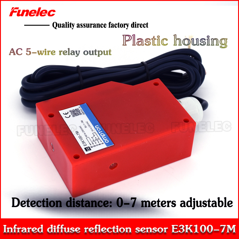 Diffuse Photoelectric Switch Infrared Photoelectric Sensor E3K100-7MAC 0-10 M Adjustable 90V~250VAC 5-wire Relay Output