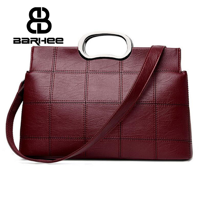 BARHEE New Women Tote Bag PU Leather Luxury Metal Handle Handbags with Long Strap Messenger Bags Ladies Shoulder Bag Solid Pouch new 100% handmade woven leather handbags tote women shoulder bags with detachable zipper pouch