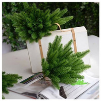 20pcs Lot Christmas Trees Decorative Simulation Plant Flower Arranging Accessories Artificial Moss Needles Cone Green